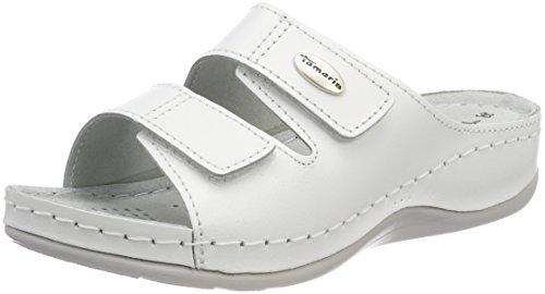 white 27510 Blanc Leather Tamaris Femme Mules wzqFfFRO