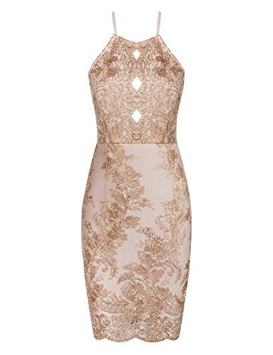 Meilun Embroidery Spaghetti Strap Sleeveless Backless Evening Party Cocktail Dresses (M, Beige)