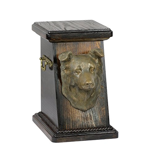(Border Collie, memorial, urn for dog's ashes, with dog statue, ArtDog)