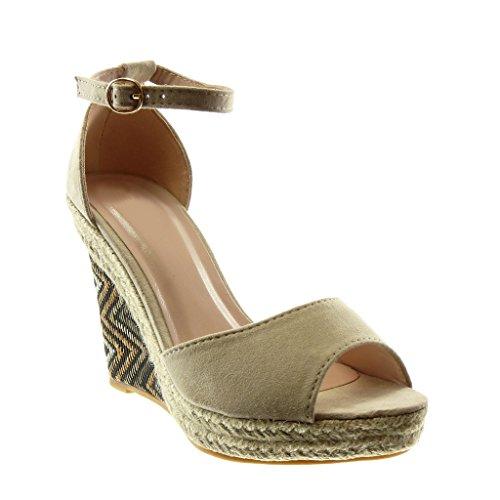 Angkorly Femme Talon Peep Beige Plateforme Corde Lanière 11 Mode compensé Sandale Chaussure Cheville Toe CM Plateforme Fantaisie Lanière Mule zOrxzw