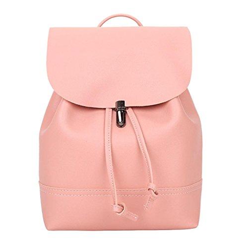 Price comparison product image Clearance sale ! Vintage Pure Color Leather School Bag Backpack Satchel Women Trave Shoulder Bag ZYEE (Pink,  21cm(L)10cm(W)26cm(H))