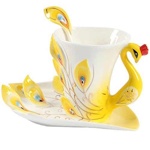 Yosou Home Personalized Unique Custom Design Porcelain Tea Cup and Saucer with Spoon Set Coffee Cup Mug 3D Peacock Theme Romantic Creative Gift -Yellow