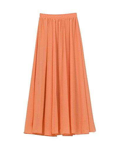 Mujer Maxi Larga Falda Bohemio Dobladillo Grande Gasa Faldas Vestidos De Plisadas Naranja