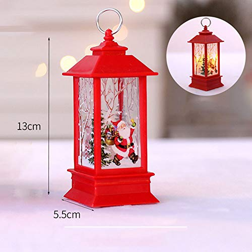 LED Candle Lantern for Christmas, Christmas Decoration Santa Lantern Decorative Holiday Table Centerpiece or Hanging Lantern Holder (Red) -