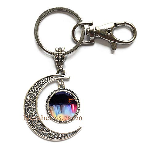 Niagara Falls at Night Key Ring,Photo Moon Keychain,Wedding Jewelry Glass Jewelry,Christmas Gift,BV143 (V1) ()