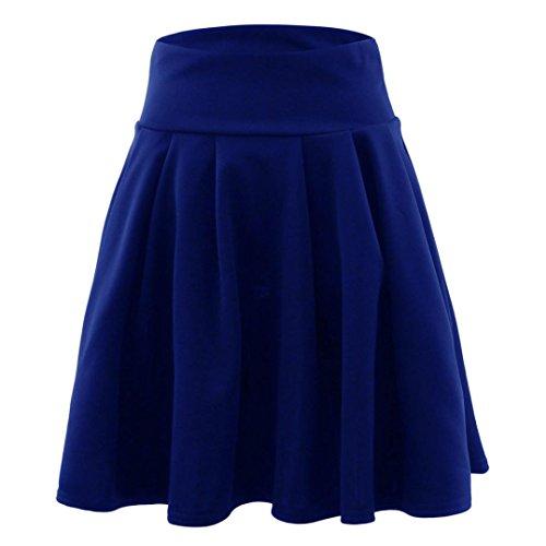 ADESHOP TrapZe Jupe Bleu Robes Femmes Femmes Jupe DContractE Fluffy Dames Sauvage Couleur T Haute Jupes Mini Jupe Taille PlissE Mode Pure 404qwBrRT6