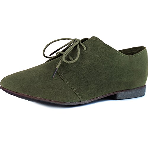 Breckelle's SANDY-31 Basic Classic Lace Up Flat Oxford Shoe,5.5 B(M) US,Military Green-31W,5.5 C/D US