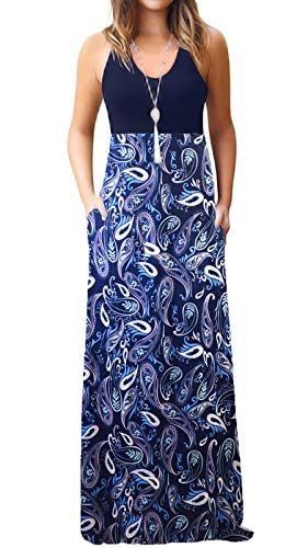 Jersey Knit Tank Dress - ZANDZ Womens Casual Sleeveless Loose Floral Print Long Maxi Dresses with Pockets (Medium, Navy Blue)