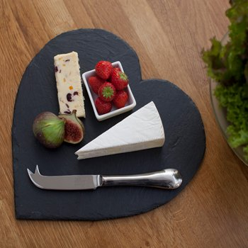 Just Slate Company Handcrafted Heart Shaped Slate Cheese Board - Slate Heart