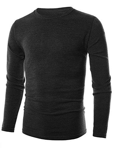 ohoo-mens-slim-fit-crewneck-pullover-lightweight-shirt-dct006-black-l