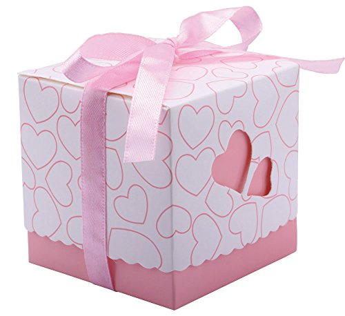 """DriewWedding Set of 50 Wedding Bridal Favor Gift Candy Boxes Case, Hollow Heart Shape Wrap Boxs Bag with Ribbon Party Table Decor Kit Treat Box Chocolate Candy Wrappers Holders (Pink/ 3""""x3""""x3"""")"""