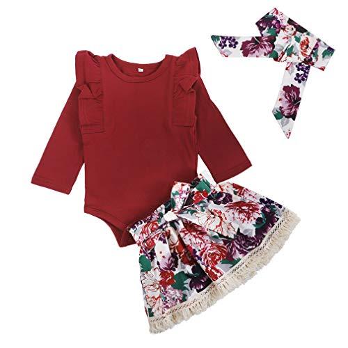 3Pcs/Set Infant Baby Girl Ruffle Long Sleeve Romper+Floral Skirt+Headband Outfits (Skirt, 0-6 Months)