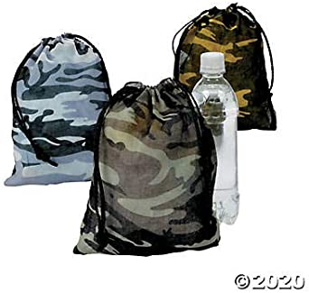 12 Military Camo Camouflage Drawstring Bags Birthday Party Favors Toys Candy