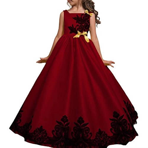 Glamulice Girl Party Dress Halloween Princess Costume Fancy Dress Up Flower Girls Dresses Ball Maxi Gown Red 3/4 ()