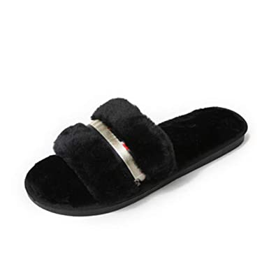 80b3a9c710 Women Indoor Slippers Velvet Open-Toe Bedroom Indoor Slipper Shoes(Black-Lable  36
