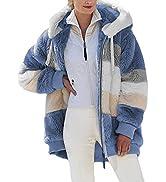 Dokotoo Womens Fuzzy Fleece Jacket Open Front Hooded Color Block Patchwork Cardigan Coats Outwear...