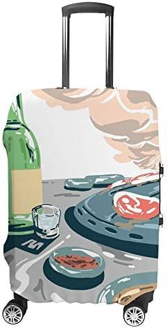 スーツケースカバー 焼肉 伸縮素材 キャリーバッグ お荷物カバ 保護 傷や汚れから守る ジッパー 水洗える 旅行 出張 S/M/L/XLサイズ