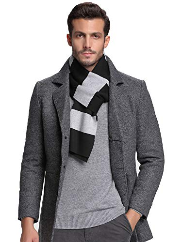 Taylormia Mens Winter Cashmere Feel Australian Merino Wool Scarf Warm Soft Stripe Knit Scarves Black Grey ()