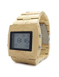 Handmade Digital Wooden Watch Made with Natural Sandalwood in Maple - HGW-067
