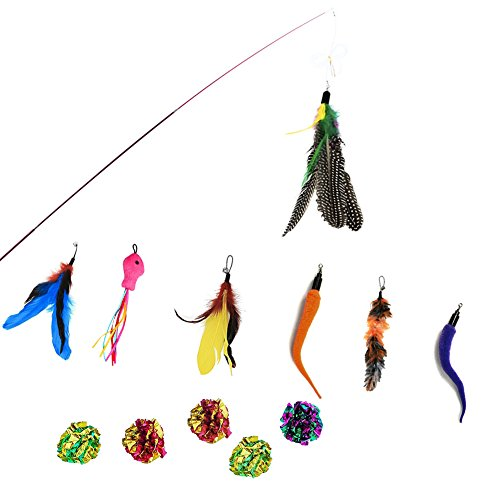 Sunnysunnie Cat Feather Toys Catnip Toy Wand Interactive Teaser Set Replacement Crinkle balls Fish Worm for Cats Kitten 14 Refills by Sunnysunnie (Image #6)