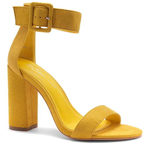 (Herstyle Rumors Women's Fashion Chunky Heel Sandal Open Toe Wedding Pumps with Buckle Ankle Strap Evening Party Shoes Mustard 5.0)