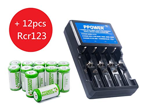 Ppower Pbe 12 packs of 700mAh 3.7v Cr123a Rechargeable Battery + PPOWER 4 Slots 3.7V Li-ion charger (PI4) + Battery boxes (12X) CE Certified for Arlo Camera, Reolink Argus, Keen, etc (Battery Charger C123)