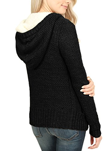 Sidefeel Women Hooded Sweater Cardigans Button Knit Coat Outwear XX-Large Black by Sidefeel (Image #1)