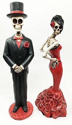 Day Of The Dead Ball Wedding Rose Skeleton Bride & Groom Figurine Dia De Muertos