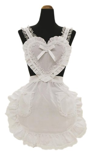 Heart frill apron white / white