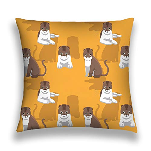 zexuandiy Decorative Cotton Velvet Vintage Home Throw Pillow Case Cushion Cover 18X18 cat Scottish fold Cartoon Background Seamless Wallpaper Animal eps File Format