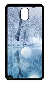 Winter Snowfall Tpu Silicone Rubber Case Back Cover for Samsung Galaxy Note 3 / Note III/ N9000 - Black