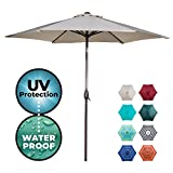 Abba Patio Outdoor Patio 9-Feet Aluminum Market Table Umbrella with Push Button Tilt and Crank, 9', Beige