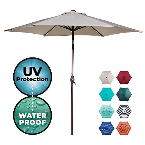 Abba Patio Outdoor Patio 9-Feet Aluminum Market Table Umbrella with Push Button Tilt and Crank, 9', Beige ()