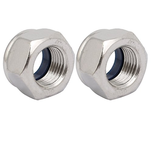 uxcell 2pcs M16 x 1.5mm Pitch Metric Fine Thread 304 Stainless Steel Hex Lock Nuts