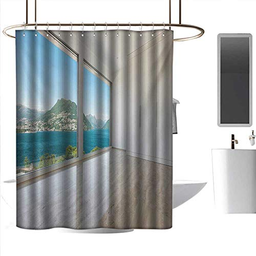 (coolteey Shower Curtains for Bathroom with Cats Modern,Interior of Penthouse Empty Living Room Large Windows Sea Mountains View Art,White Blue Beige,W48 x L84,Shower Curtain for Girls Bathroom)