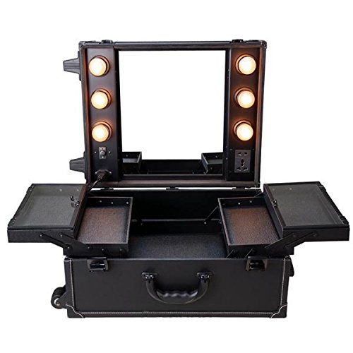 Rolling Studio PVC Makeup Cosmetic Case with Light Mirror