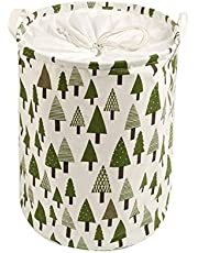 oAtm0eBcl Storage Bucket, Foldable Cotton Linen Laundry Hamper Storage Bin With Handle & Drawstring For Dirty Clothes Toys, Storage Bucket Organizer Tree