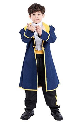 Boys Prince Charming Costume Uniform for Adult Pants+Coat+ Shirt+ Belt Medium