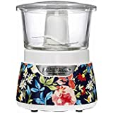 The Pioneer Woman Fiona Floral 3 cup Stack and Press Glass Bowl Chopper Food, Model 72862 by Hamilton Beach Processor