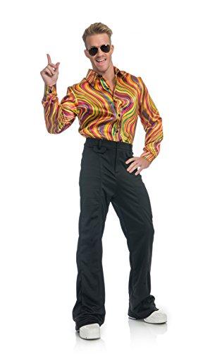 Charades Men's Rainbow Lights Disco Dude Shirt, As