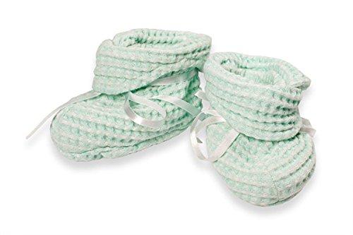 Lino fashion: verde bebé zapatos de lino/algodón (Botines)