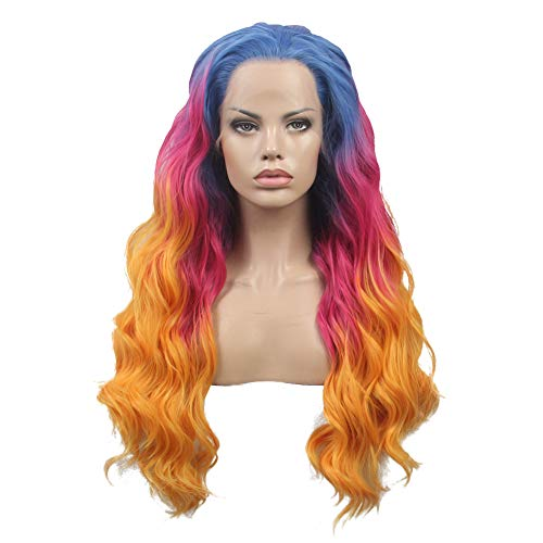 FSLWIGS Long Rainbow Hair Wig Multi-Color Natural Wave Synthetic Lace Front Wigs Colorful Heat Resistant for Music Festival, Theme Parties, Wedding, Concerts, Dating, Cosplay, Daily Use & More -