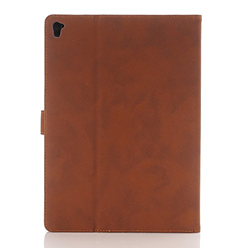 Fundas soporte y carcasa para Apple iPad Air 2, elecfan iPad Air 2 protector de pantalla funda Mochila Negocio generacion 360 grados de rotacion cubierta elegante smart cover carcase con la funcion in marrón oscuro