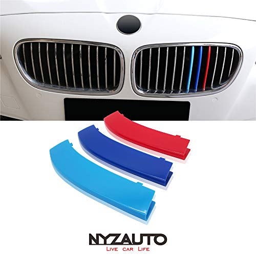 Inserts Series Grill - NYZAUTO M-Colored Stripe Grille Insert Trims for 2011-2013 BMW F10 5 Series 528i 535i 550i Kidney Grills (12 Beams,Not Fit 10-Beam)