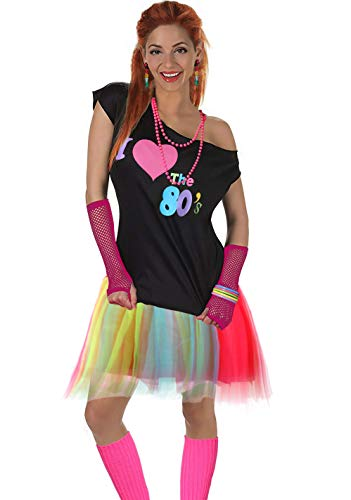 Women's I Love The 80's T-Shirt 80s Outfit Accessories(S/M,Colorful)