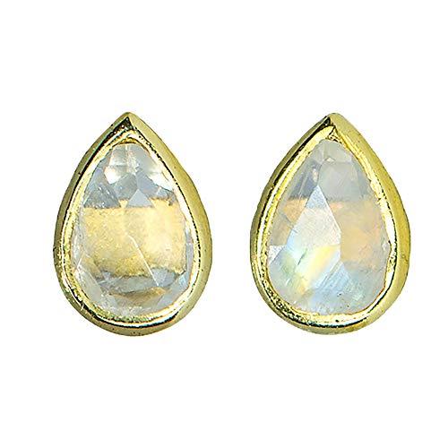 - Pura Vida Gold Teardrop Stone Stud Earrings - Aqua Chalcedony.925 Sterling Silver - 1 Pair