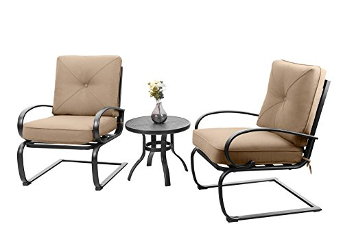 PHI VILLA Motion Patio Big X Design C-Spring Metal Chairs Set 2 and Bistro Table with Beige Cushioned Seat