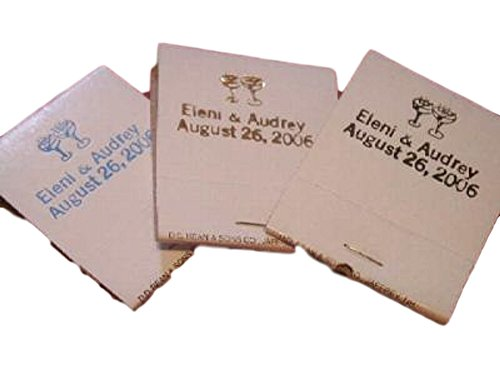 50 Personalized White Jacket Match Books Matches 30 Strike Matchbooks