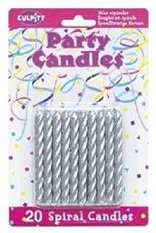 20 Pkg ~ Culpitt Silver Spiral ~ Cake Decorating Candles