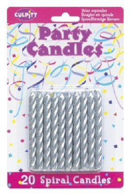 20 Pkg ~ Culpitt Silver Spiral ~ Cake Decorating Candles Quantumchaos Media SG_B0091GVSCI_US